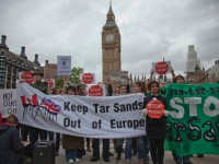 Around 50 protesters turned out at UK Parliament to protest Harper - credit Rajan Zaveri