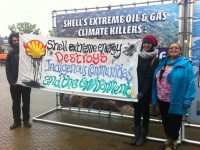 Eriel Deranger and Mae Hank oppose Shell's 'extreme energy' agenda outside the AGM. Photo by Suzanne Dhaliwal.