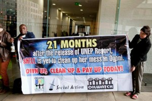 Celestine AkpoBari outside the London Shell event. Photo courtesy of Platform