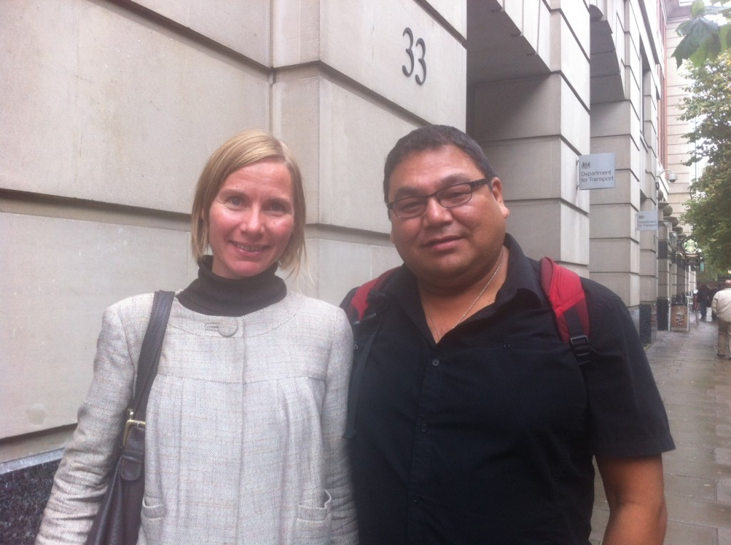George and Franziska after meeting with Transport Minister Norman Baker